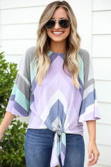 Model wearing Purple Multi-Color Striped Tie Front Top