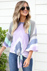 Purple - Multi-Color Striped Tie Front Top
