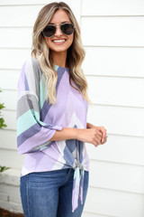 Model wearing Purple Multi-Color Striped Tie Front Top Side View