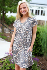 Model wearing Leopard Short Sleeve T-Shirt Dress Front View