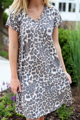 Model wearing Leopard Short Sleeve T-Shirt Dress Detail View