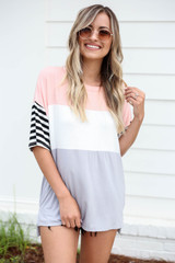 Model wearing Blush Color Block Striped Sleeve Tee