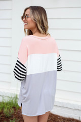 Model wearing Blush Color Block Striped Sleeve Tee Back View