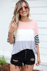 Blush - Color Block Striped Sleeve Tee Tucked In