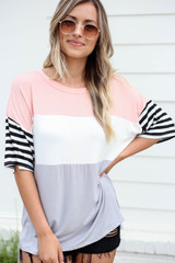 Model wearing Blush Color Block Striped Sleeve Tee Front View