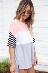 Model wearing Blush Color Block Striped Sleeve Tee Side View