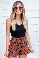 Brown - Spotted Ruffle Shorts Front View