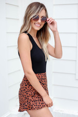 Model wearing Brown Spotted Ruffle Shorts Side View