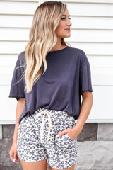 Taupe - Leopard Print Lounge Shorts