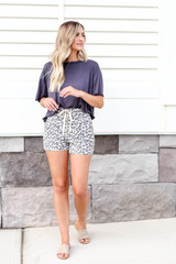 Model wearing Taupe Leopard Print Lounge Shorts Front View