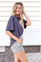 Model wearing Taupe Leopard Print Lounge Shorts Side View