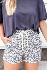Taupe - Leopard Print Lounge Shorts Detail View