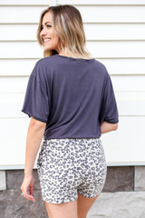 Model wearing Taupe Leopard Print Lounge Shorts Back View