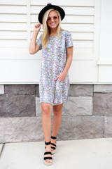 Model wearing Multi-Color Snakeskin T-Shirt Dress Front View