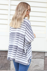 Model wearing Navy Oversized Striped Top Back View