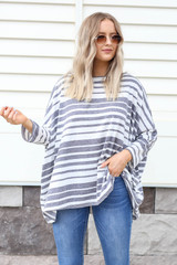 Model wearing Navy Oversized Striped Top Front View