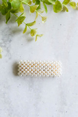 White - Rectangle Peal Hair Clip Flat Lay