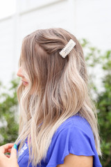 White - Rectangle Peal Hair Clip On Model Close Up