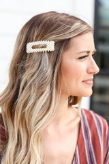 Model wearing White Pearl Cut Out Rectangle Hair Clip