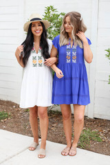 Blue - and White Embroidered Mini Dresses