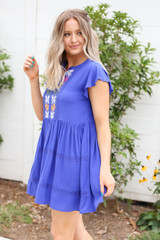 Model wearing Blue Embroidered Mini Dress Side View