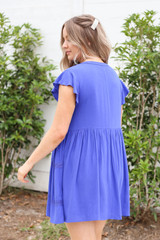 Model wearing Blue Embroidered Mini Dress Back View