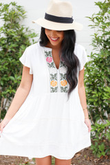 Model wearing White Embroidered Mini Dress Front View