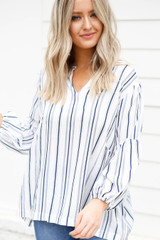 Model wearing Navy and White Striped Balloon Sleeve Blouse Front View