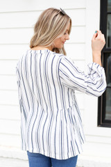 Model wearing Navy and White Striped Balloon Sleeve Blouse Back View