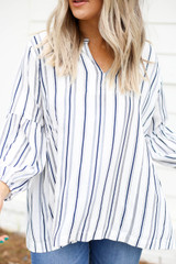 Model wearing Navy and White Striped Balloon Sleeve Blouse Detail View