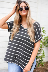 Charcoal - Oversized Striped Tee Front View