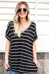 Black - Oversized Striped Tee