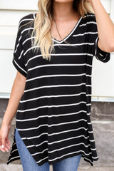 Black - Oversized Striped Tee Detail View