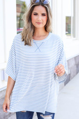 Blue - Oversized Striped Top