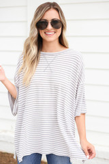 Grey - Striped Oversized Top
