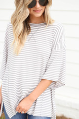 Model wearing Grey and White Striped Oversized Top Detail View