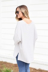 Model wearing Grey and White Striped Oversized Top Back View
