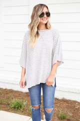 Model wearing Grey and White Striped Oversized Top Full View