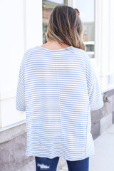 Model wearing Blue and White Striped Oversized Top Back View