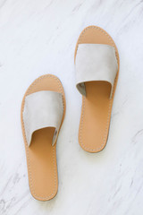 Taupe - Thick Strap Slip On Sandals Flat Lay