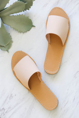 Nude - Thick Strap Slip On Sandals Flat Lay