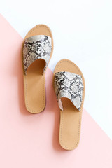 Snake - Snakeskin Thick Strap Slip on Sandals