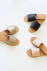 Snake - Nude, and Taupe Slide Sandals