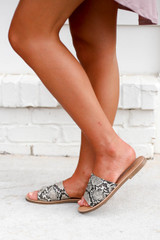 Snake - Snakeskin Slide Sandals on Model Side View