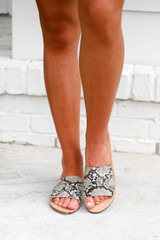 Snake - Snakeskin Slide Sandals on Model Front View