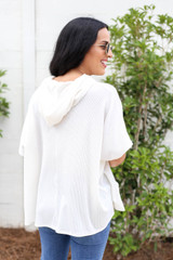 Model wearing White Ribbed Front Pocket Hoodie Back View