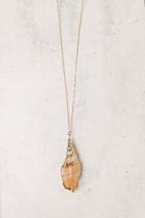 Gold - Conch Shell Necklace Flat Lay