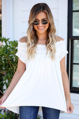 White - Off the Shoulder Ruched Top