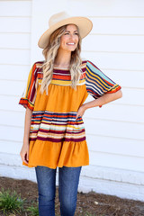 Model wearing Mustard Ruffle Sleeve Striped Top Front View