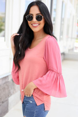 Coral - Contrast Sleeve Top